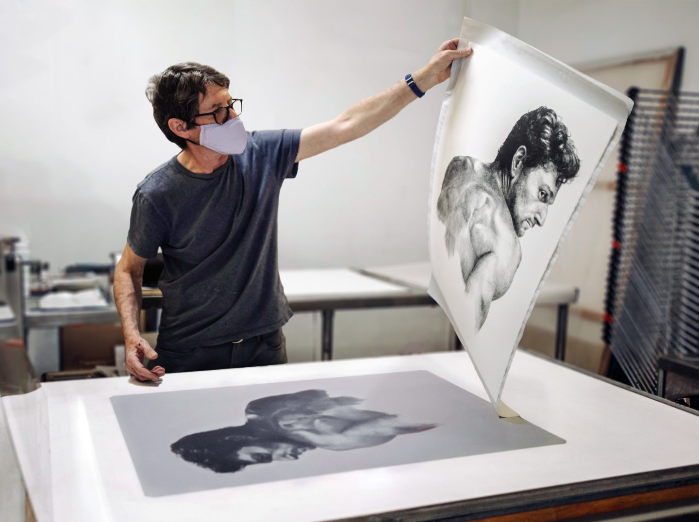 Master Printer, Brian Shure, with a limited edition Simon Haas print in 2020.