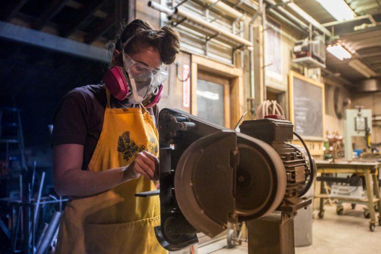 woodworking workshop student sander